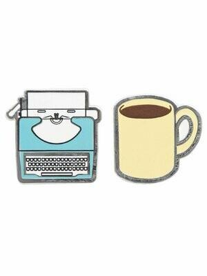 Typewriter and Coffee enamel pin set