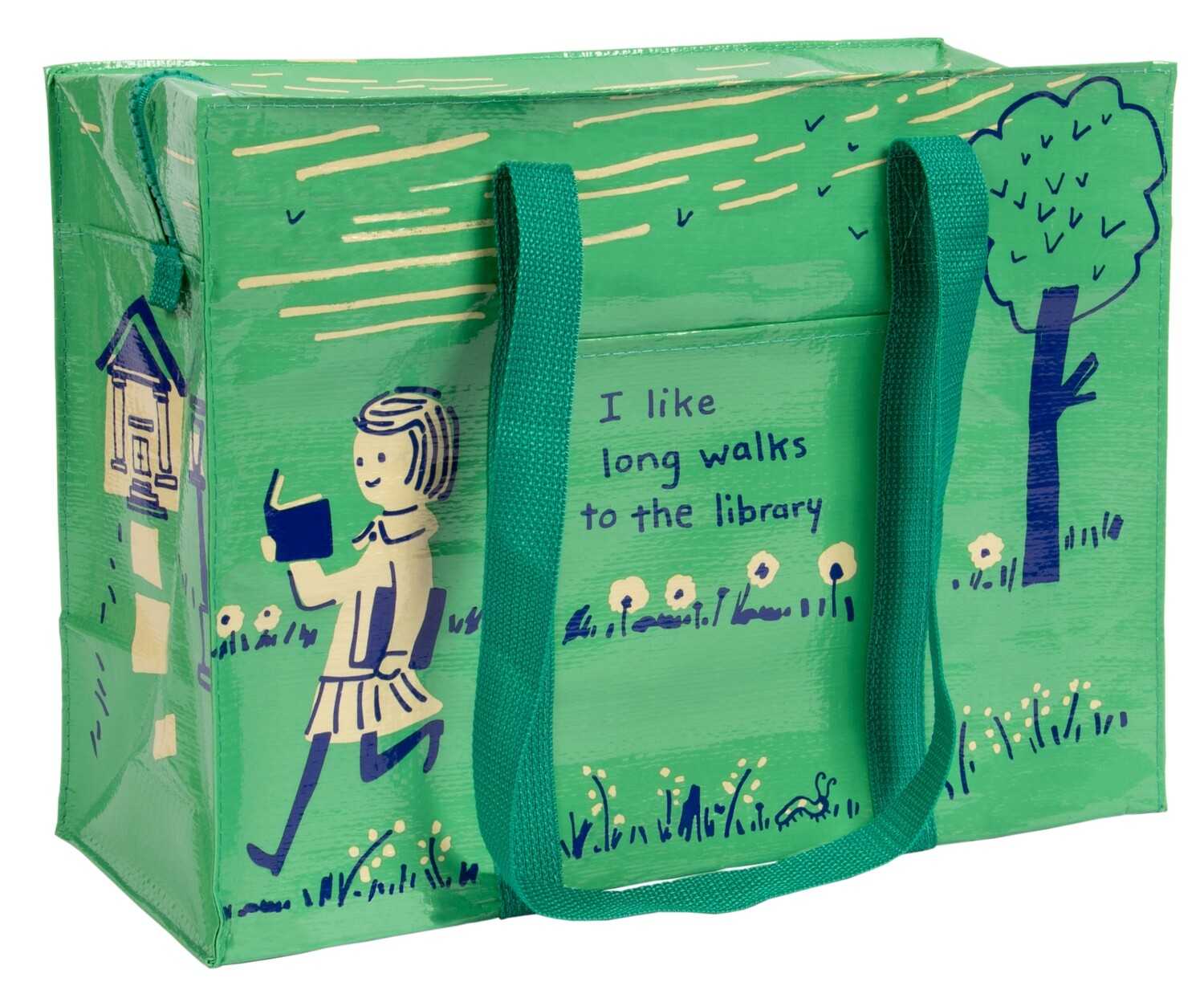 I Like Long Walks to the Library Shoulder Tote