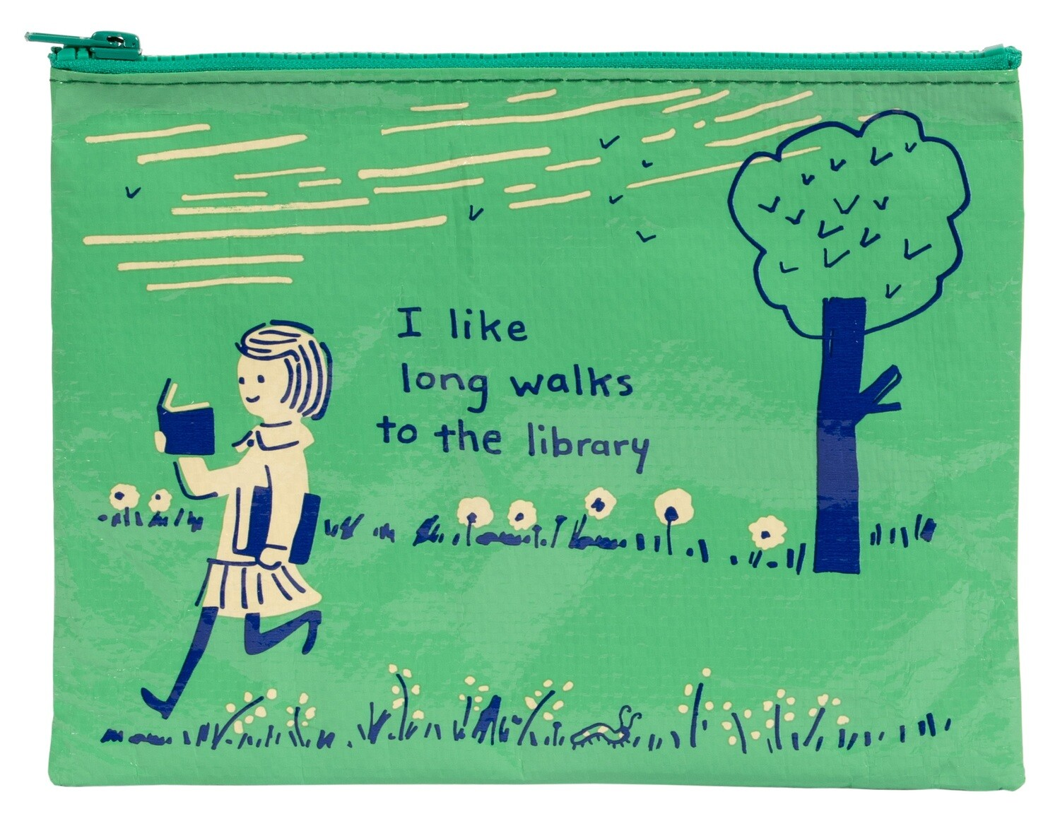 I Like Long Walks to the Library zipper pouch