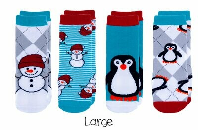 Cabin Socks - Snowman and Penguin 4-pair pack