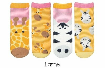 Sock Safari - Giraffe and Zebra (Pink) 4-pair pack