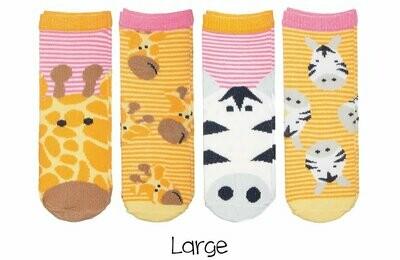Sock Safari - Giraffe and Zebra (Pink) 4-pair pack