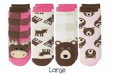 Cabin Socks - Moose and Brown Bear 4-pair pack