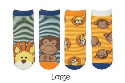 Sock Safari - Lion and Monkey 4-pair pack
