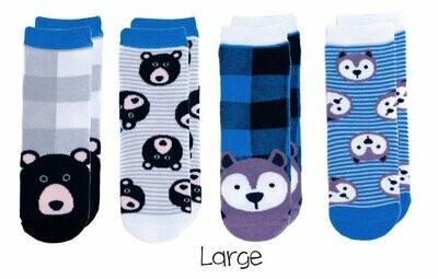 Cabin Socks - Wolf and Black Bear 4-pair pack