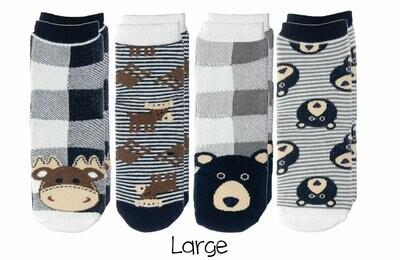Cabin Socks - Moose and Black Bear 4-pair pack