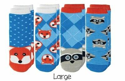 Cabin Socks - Fox and Raccoon 4-pair pack