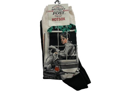 Norman Rockwell Saturday Evening Post Collection Schoolboy Gazing Out Window Crew Socks