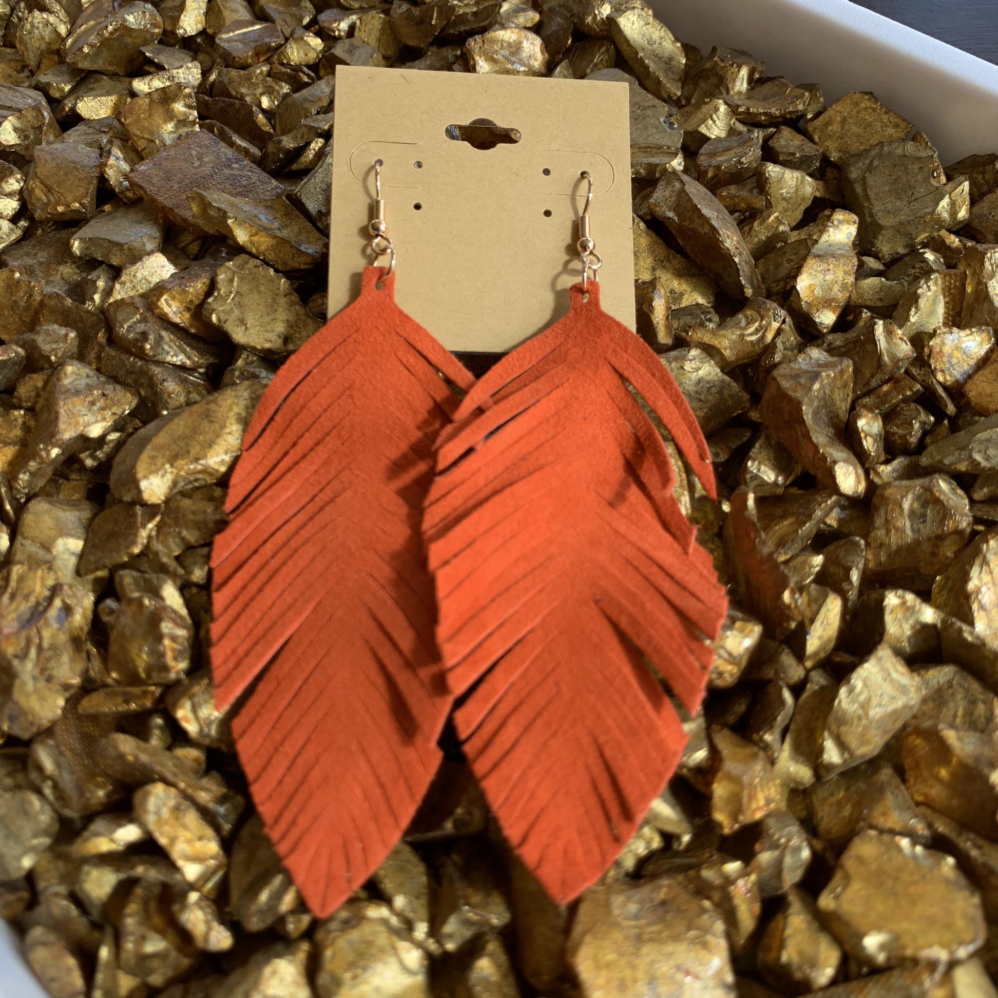 Leafy Faux Suede Earrings UPAC001-LEAFY