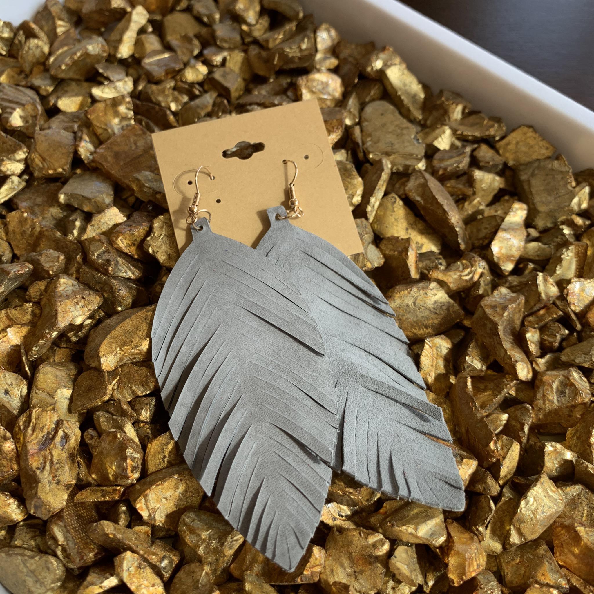 Leafy Faux Suede Earrings