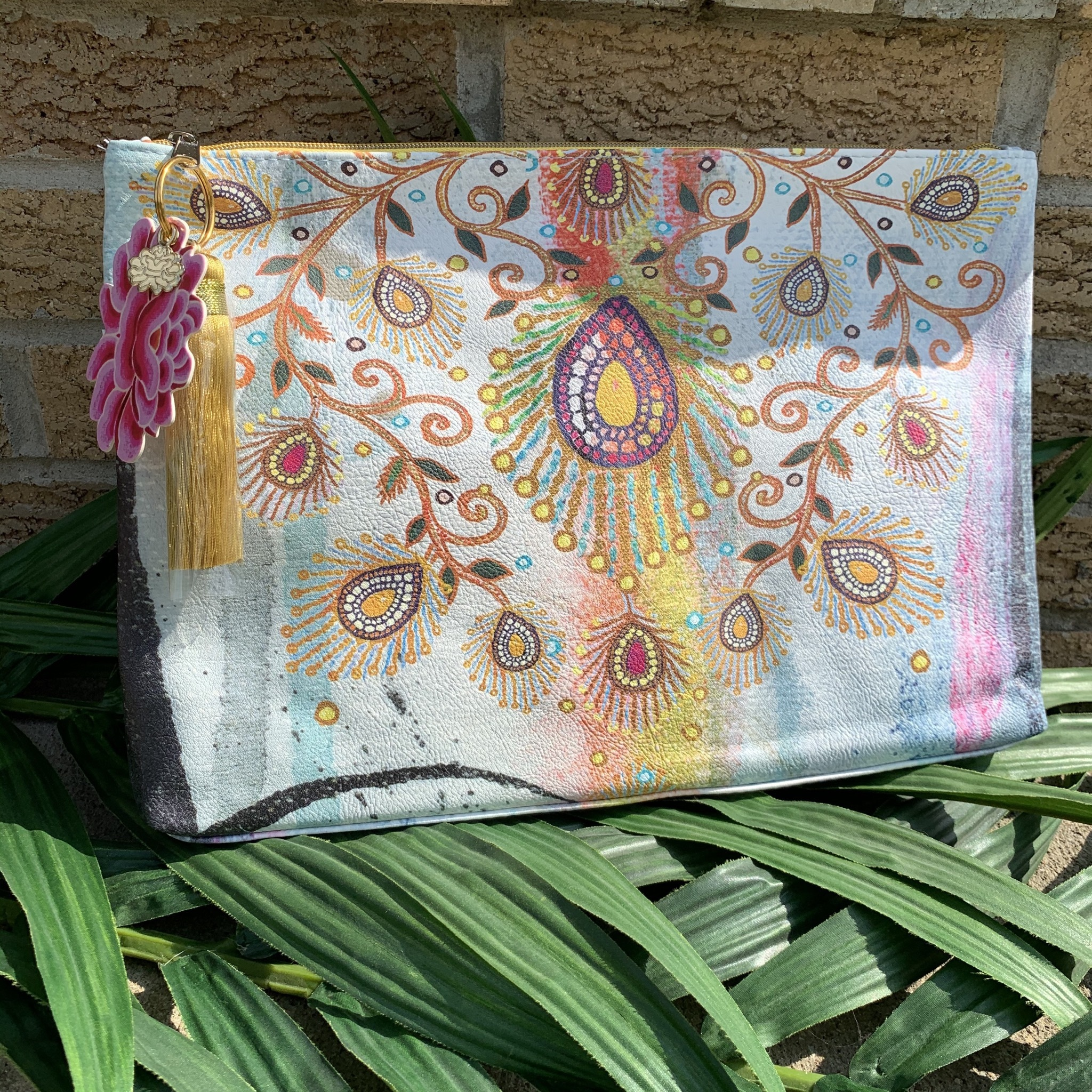 Moroccan Peacock Large Tassel Pouch UPHB0001-MPLTP