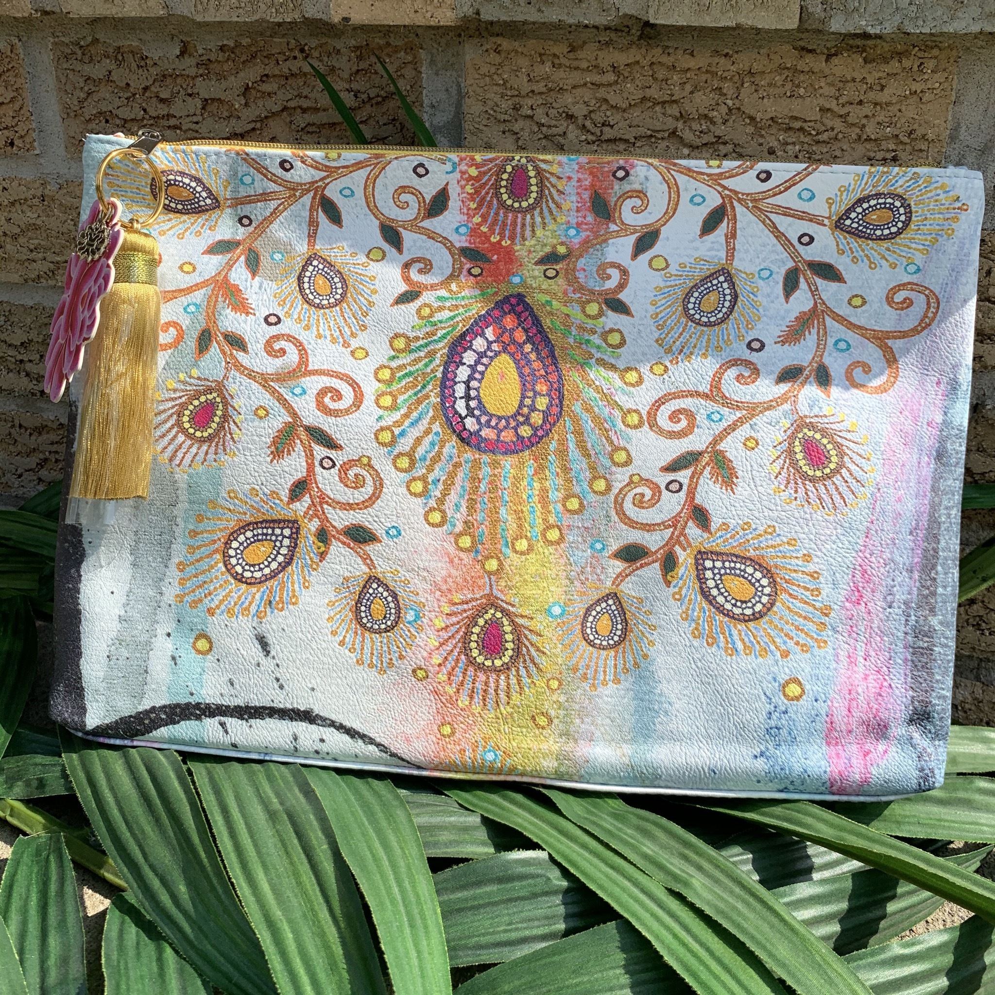 Moroccan Peacock Large Tassel Pouch
