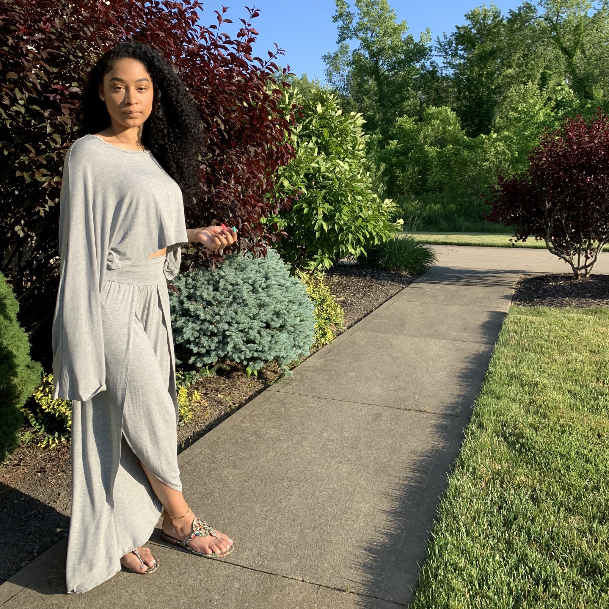 Let's Chill 2-Piece Set-Heather Gray
