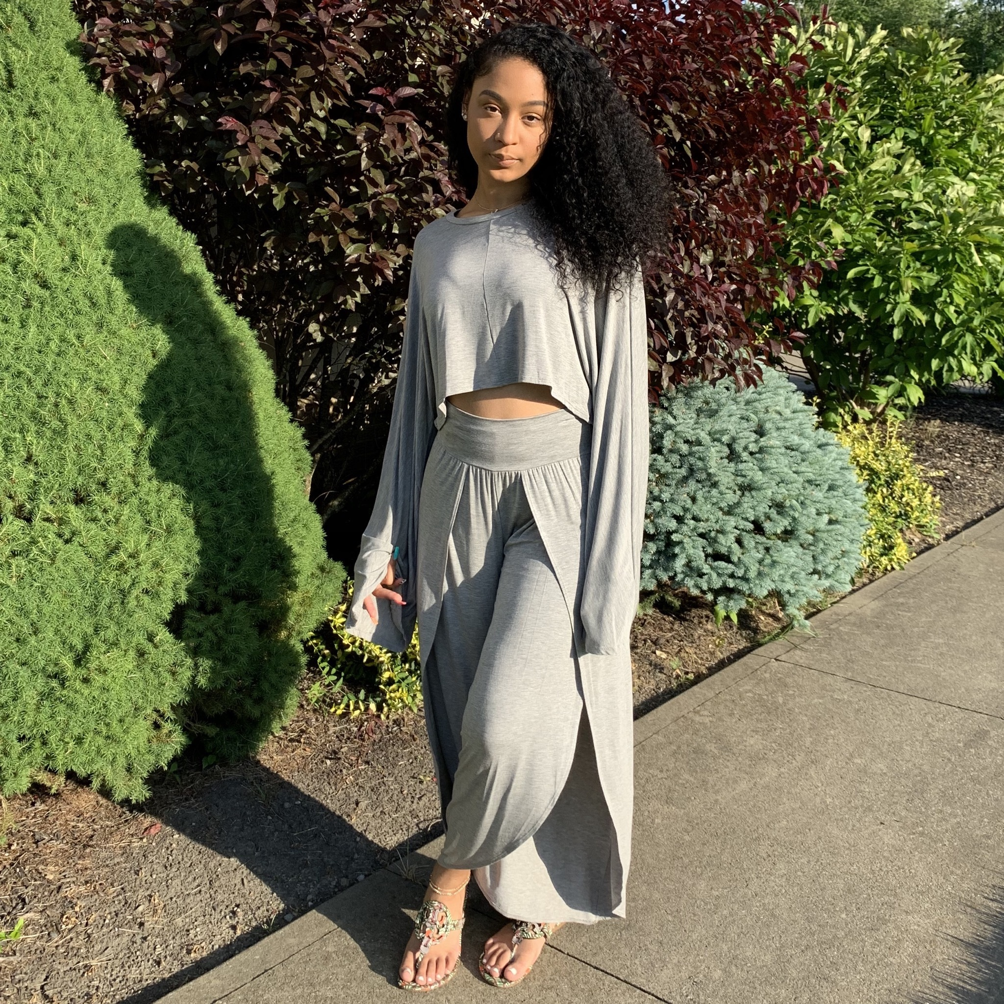 Let's Chill 2-Piece Set-Heather Gray UP2P900-LETSCHILL-GRAY
