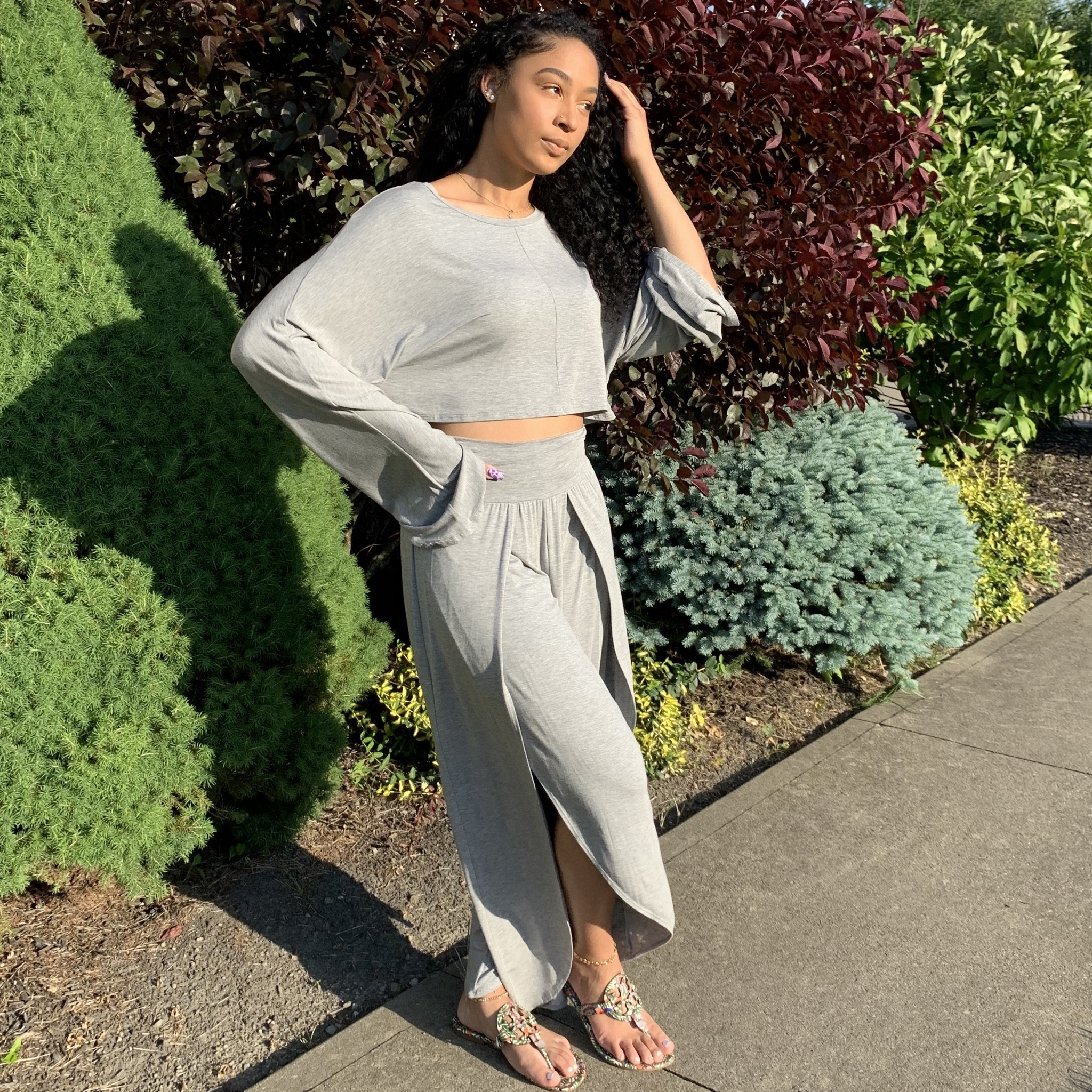 Let's Chill Two Piece Set-Heather Gray