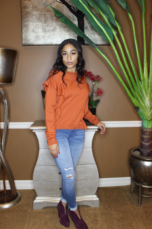 Sweet Pumpkin Ruffle Sweater