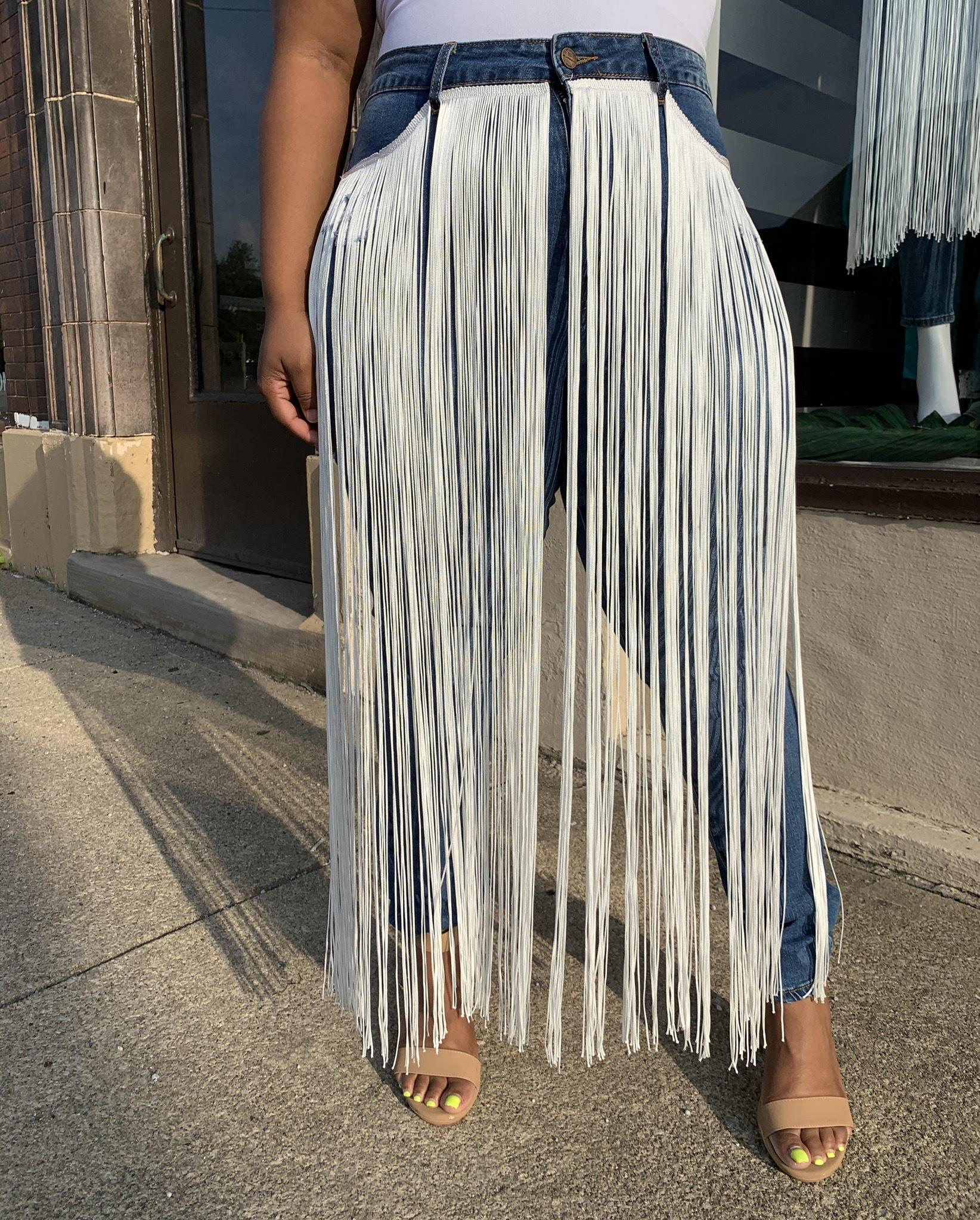 Fringy Curve Denim Jeans UPJN905-FRINGY
