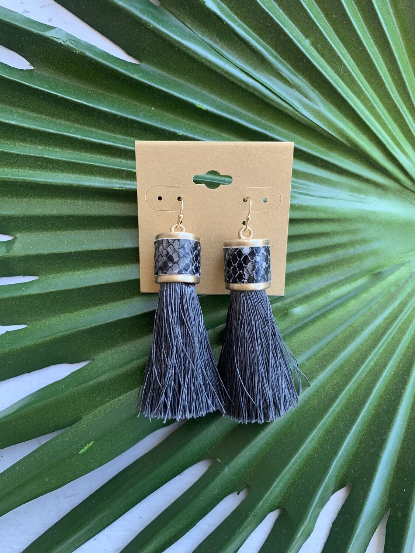 Ramiah Tassel Earrings-Dark Grey