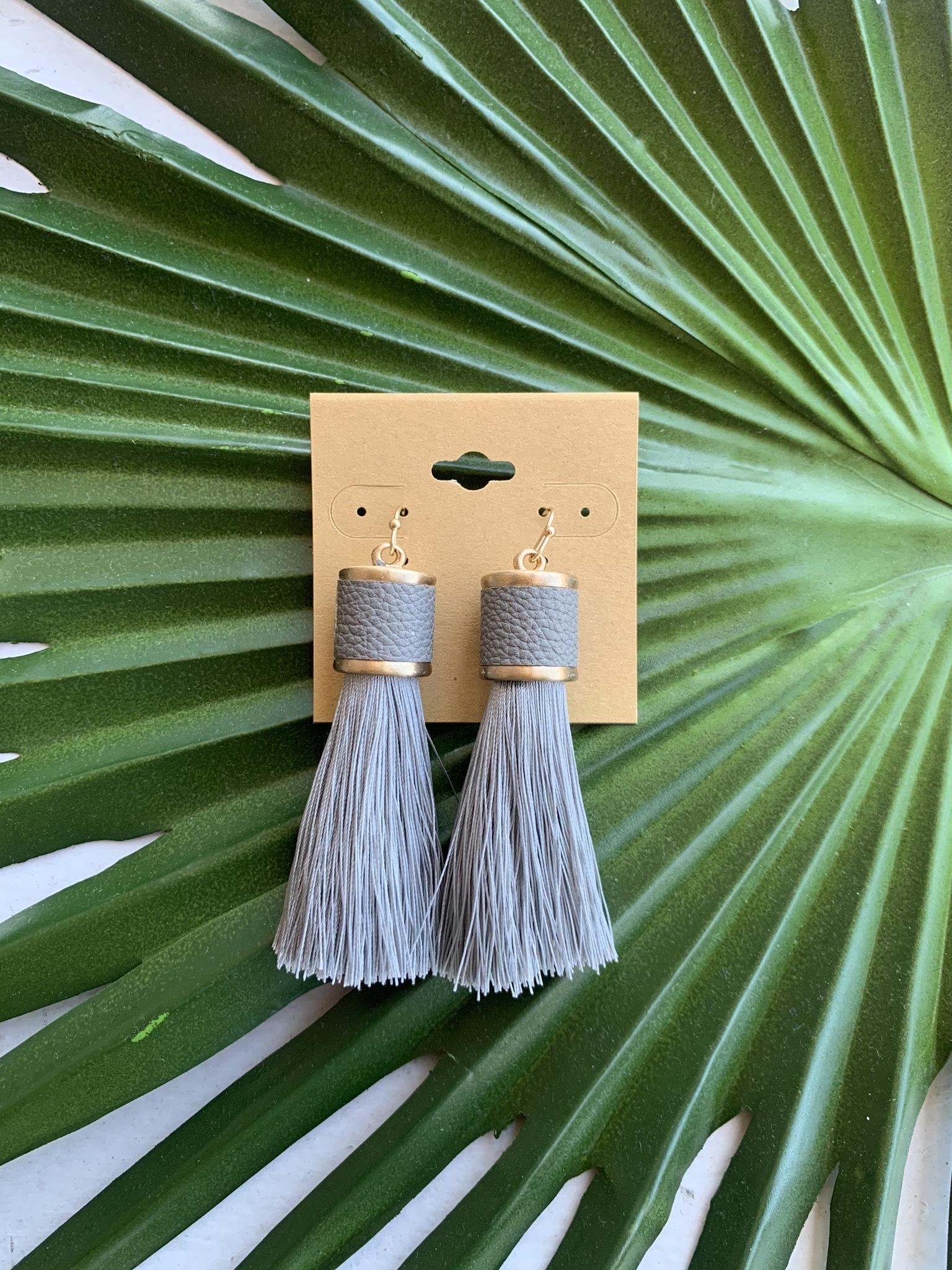 Ramiah Tassel Earrings-Light Grey UPAC0001-RAMIAH-LIGHTGREY