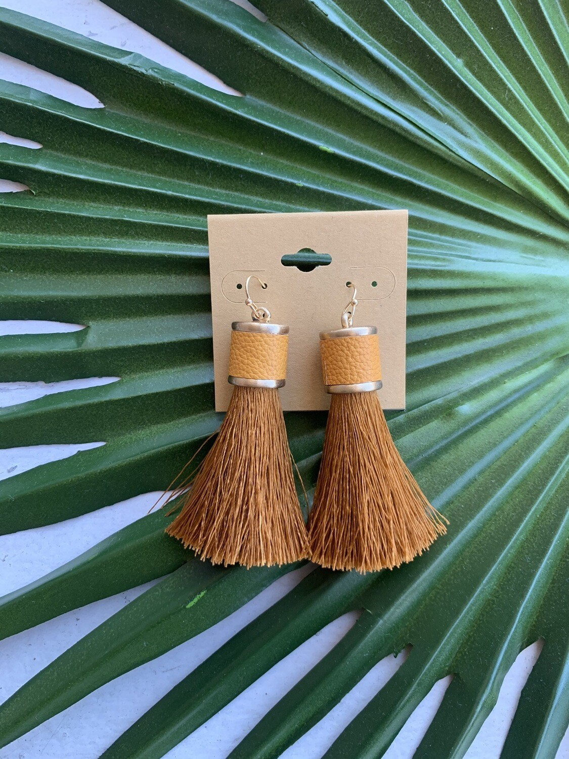Ramiah Tassel Earrings-Mustard