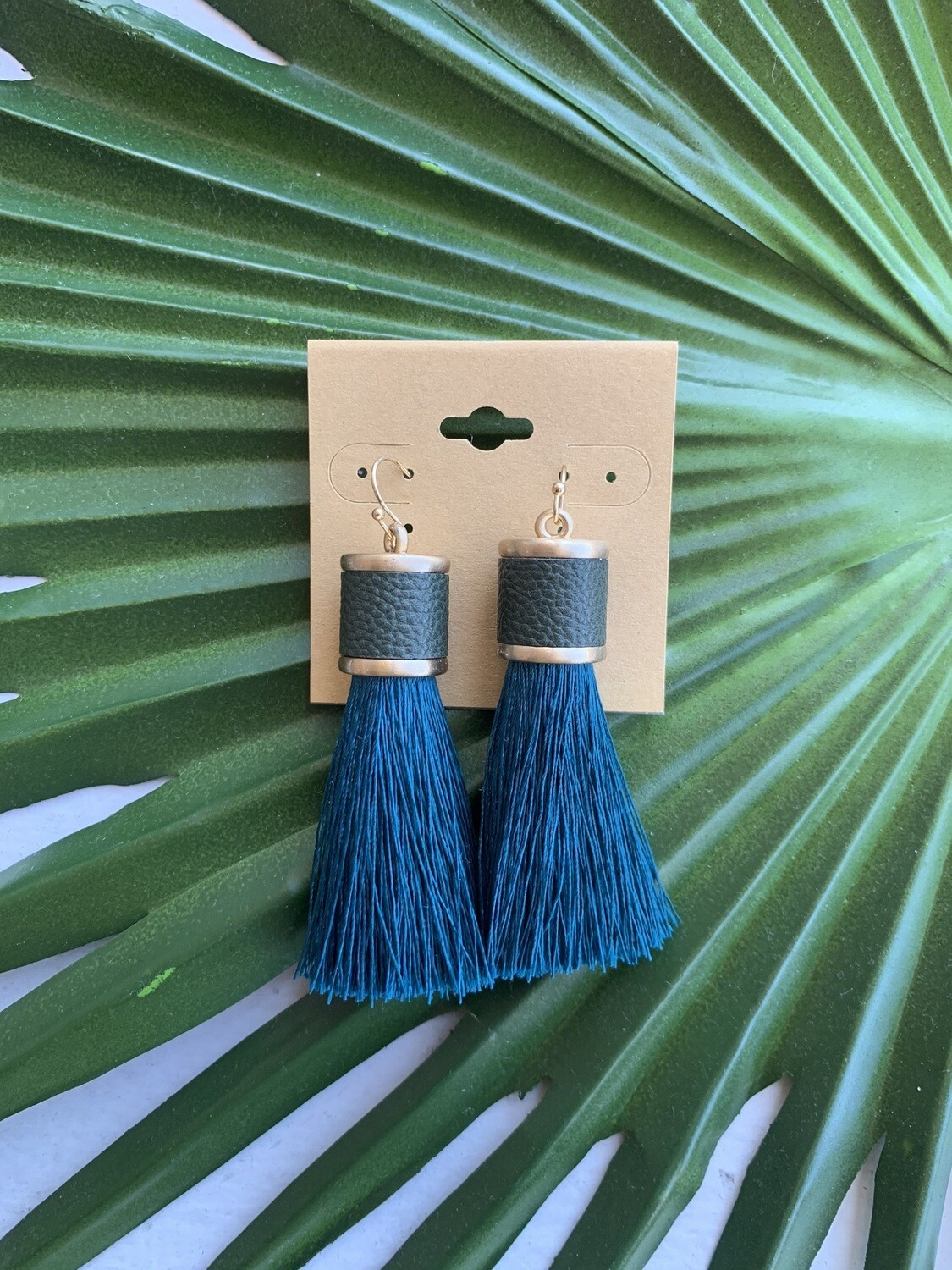 Ramiah Tassel Earrings-Dark Teal