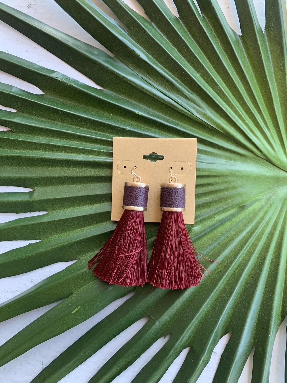 Ramiah Tassel Earrings-Wine