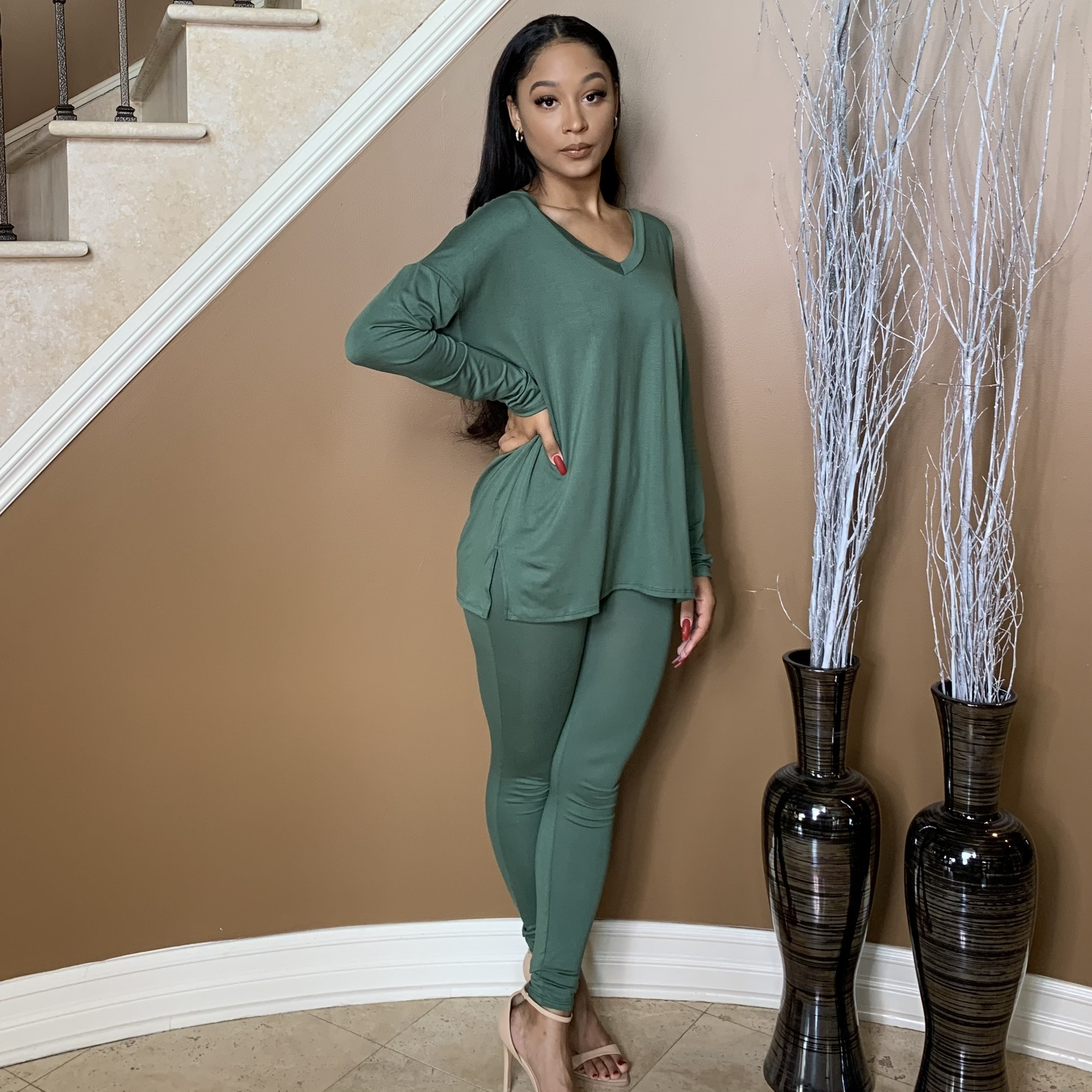 Max Chillin Two Piece Set-Olive