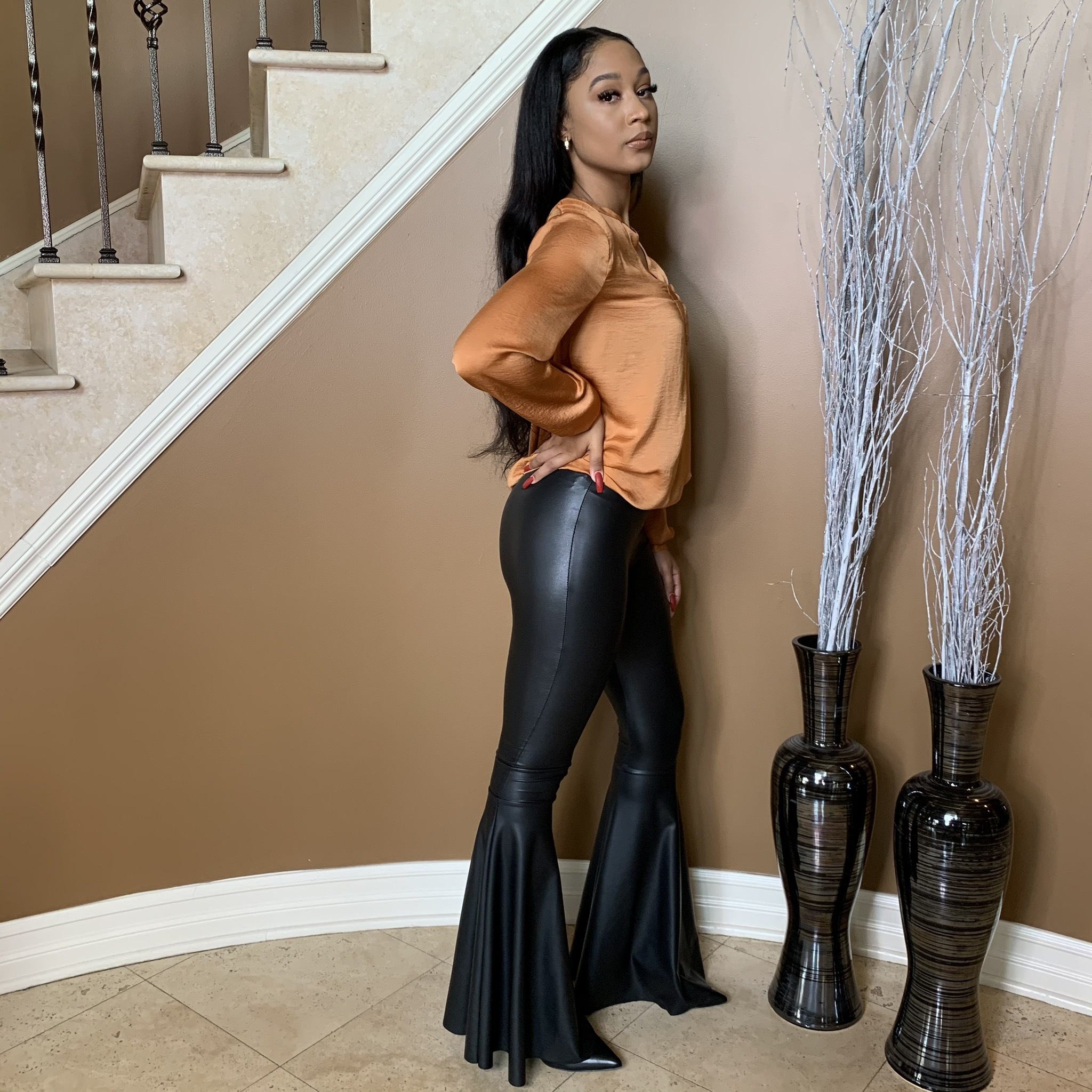 Bella Boss Faux Leather Flare Pants