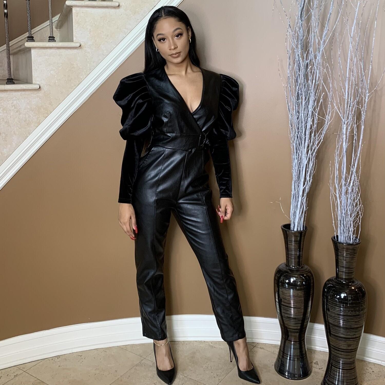 Thriller Faux Leather Jumpsuit