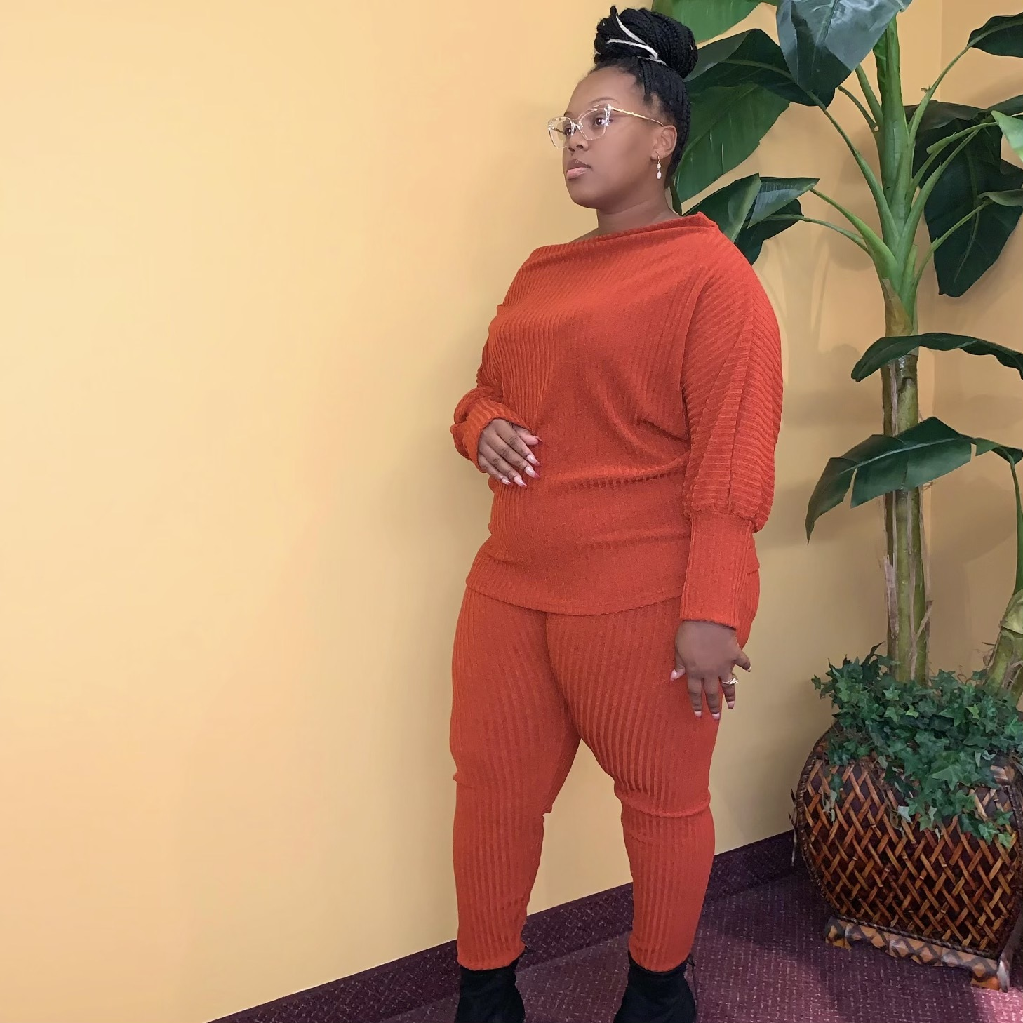 Groove Back Two Piece Set-Rust