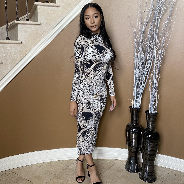Luxe Villa Midi Dress-Grey