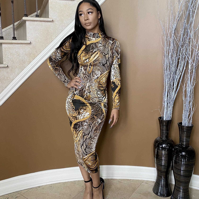 Luxe Villa Midi Dress-Gold