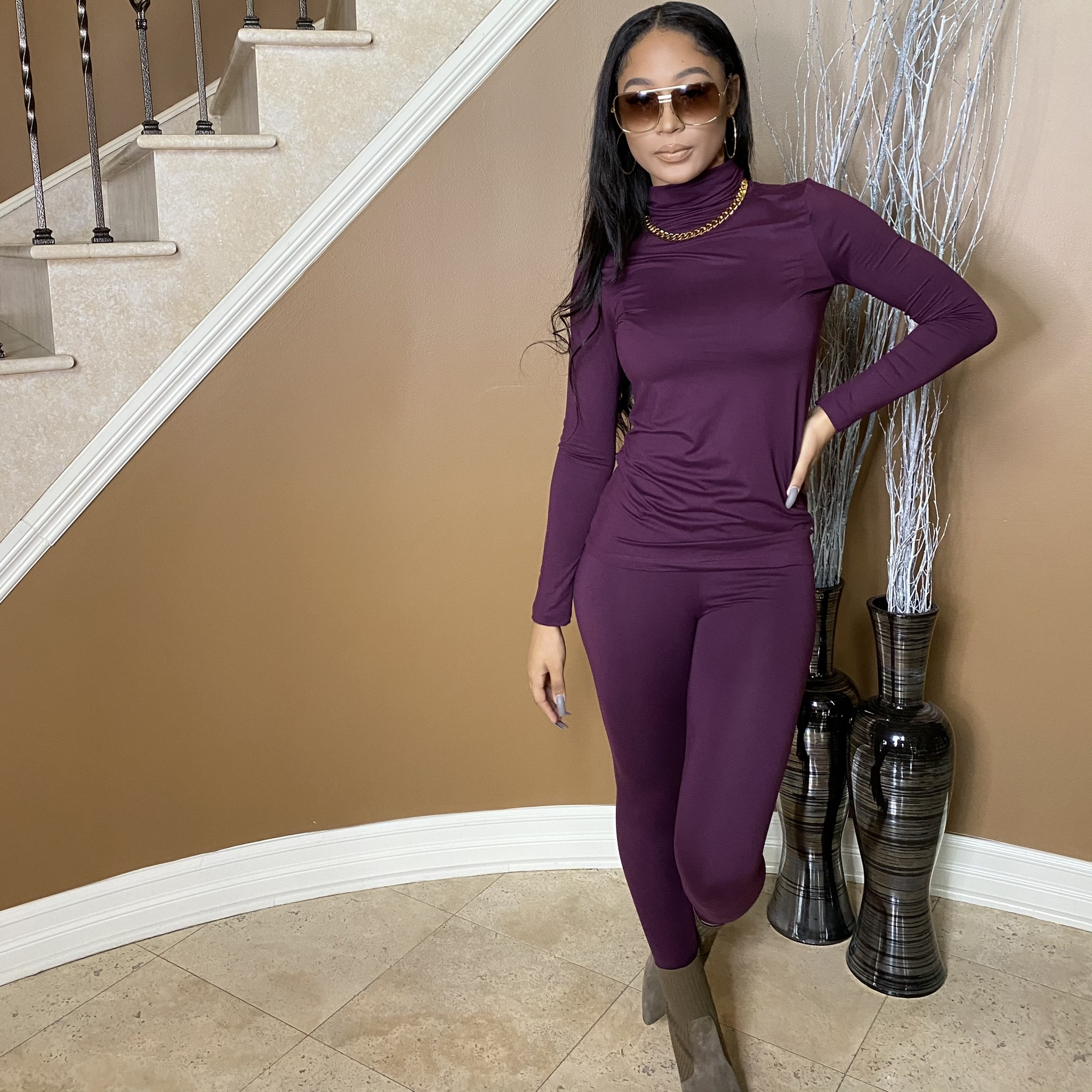 Light Work Two Piece Set-Dark Plum UP2P940-LIGHTWORKDARKPLUM
