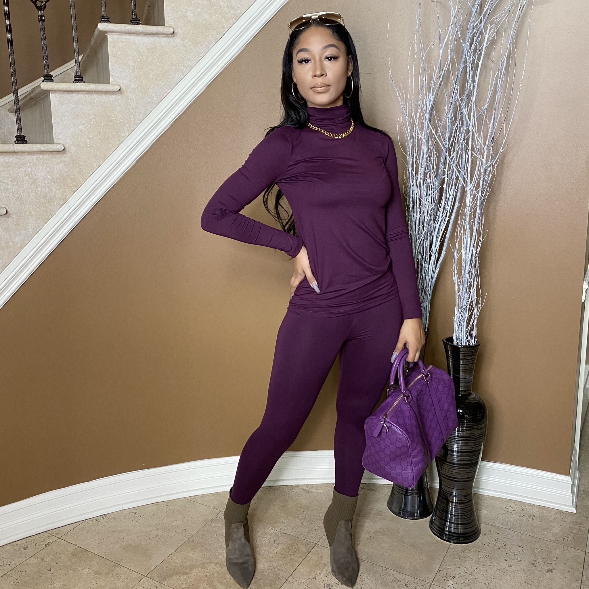 Light Work Two Piece Set-Dark Plum