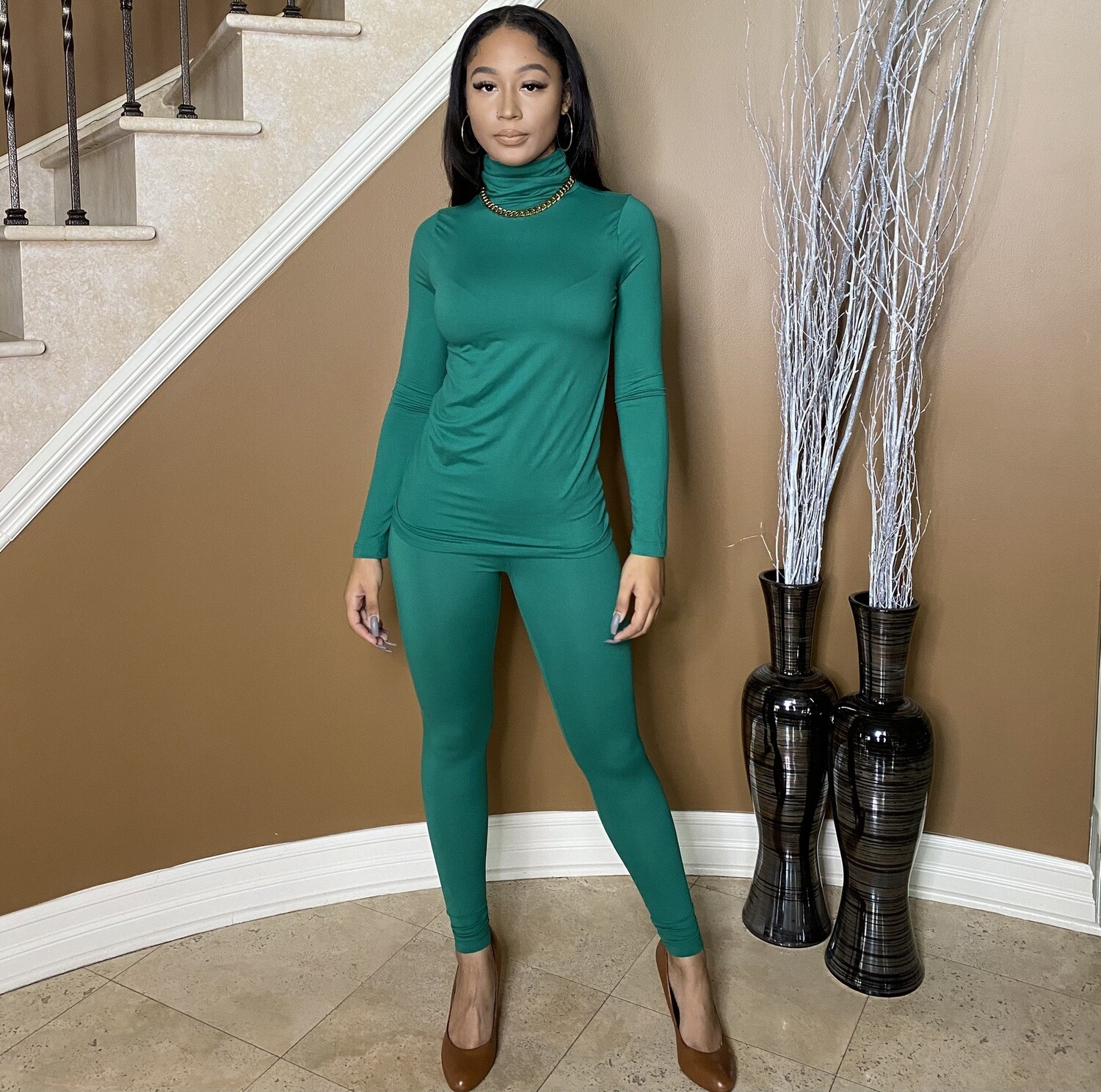 Light Work Two Piece Set-Forest Green