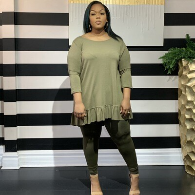Buttercup Two Piece Set-Curvy-Olive