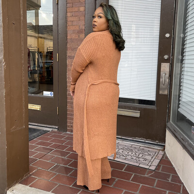 Warm Cinnamon Two Piece Duster Set-Curvy