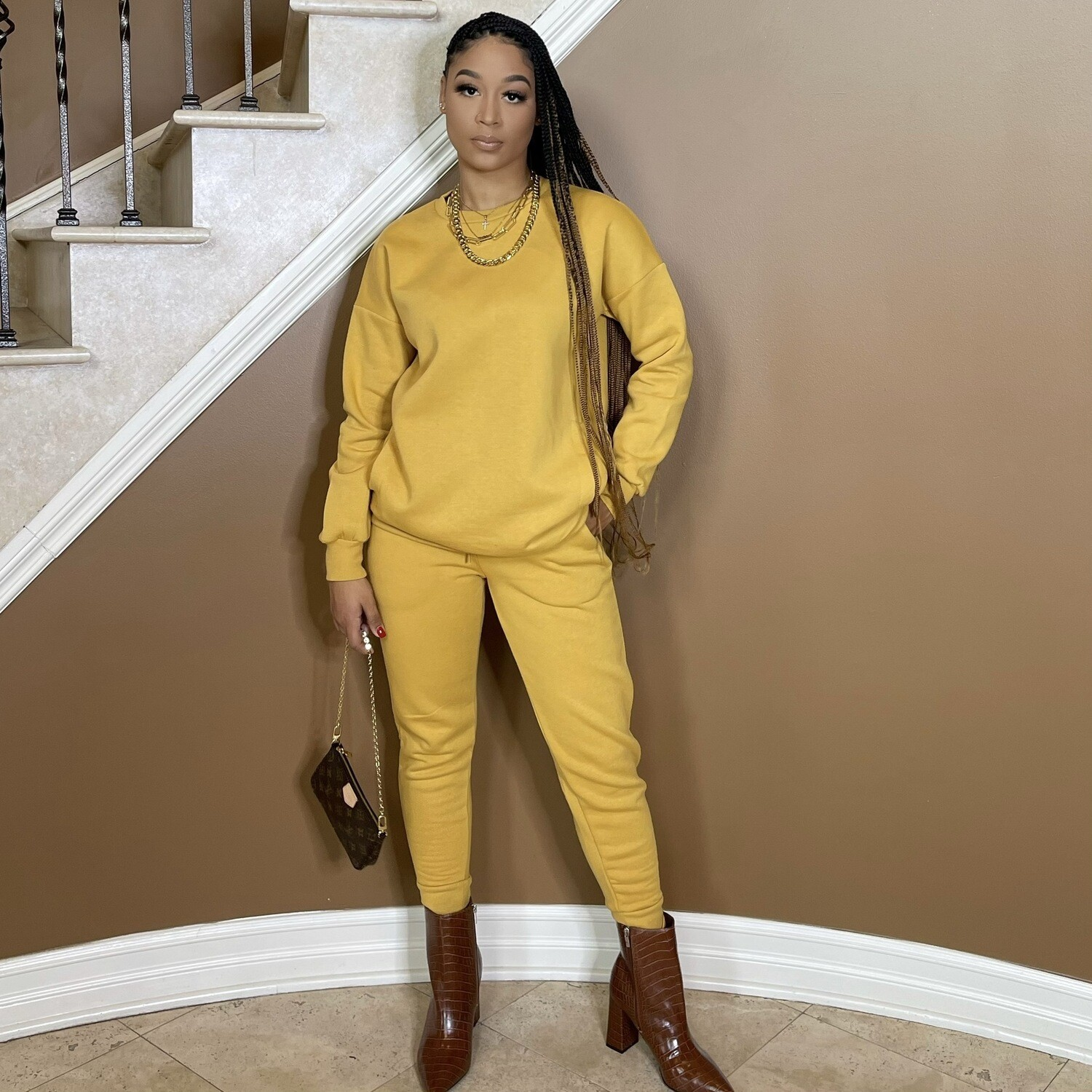 Be Cozy Two Piece Jogger Set-Mustard