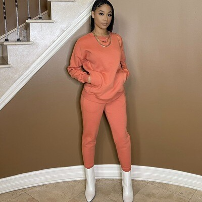 Be Cozy Two Piece Jogger Set-Tangerine