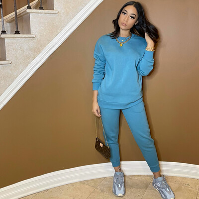 Be Cozy Two Piece Jogger Set-Teal