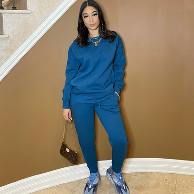 Be Cozy Two Piece Jogger Set-Peacock