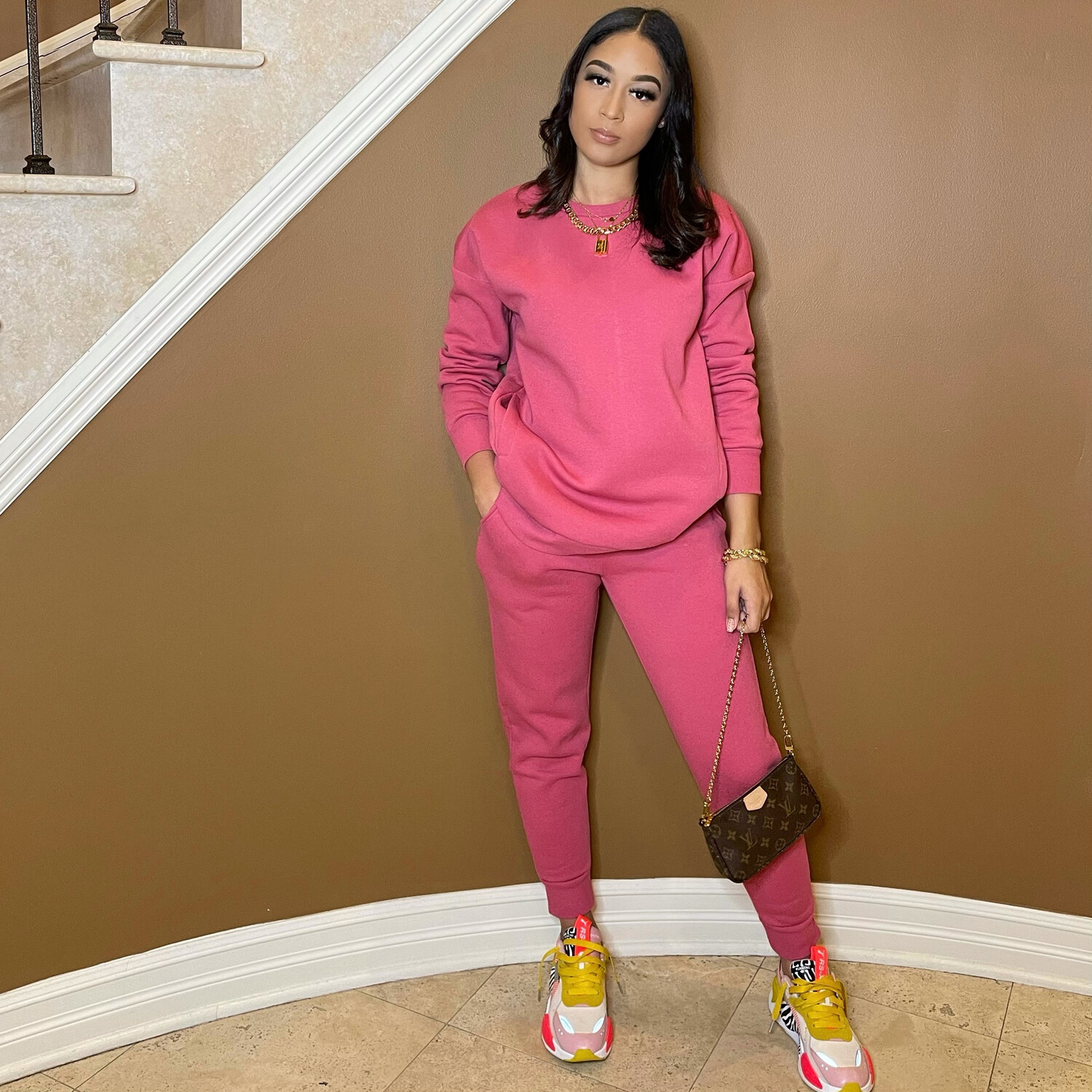 Be Cozy Two Piece Jogger Set- Rosey