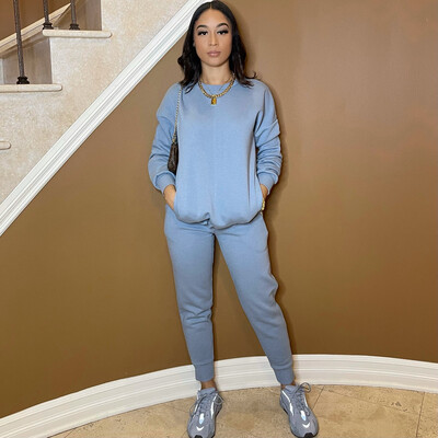 Be Cozy Two Piece Jogger Set-Denim