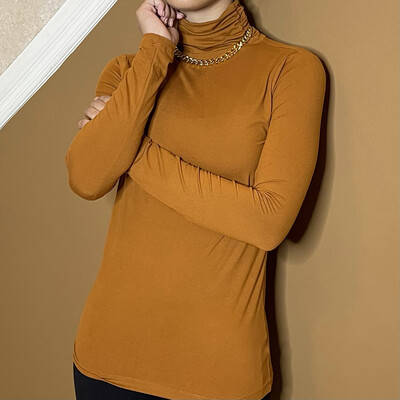 Oh So Soft Turtleneck-Bronze
