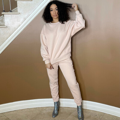 Double Up Two Piece Jogger Set-Dusty Pink
