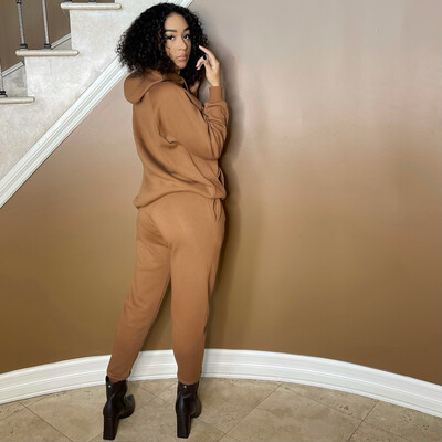Cute Covered Two Piece Jogger Set-Deep Camel