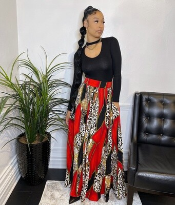 Lady Donatella Animal Print Pleated Skirt-Red