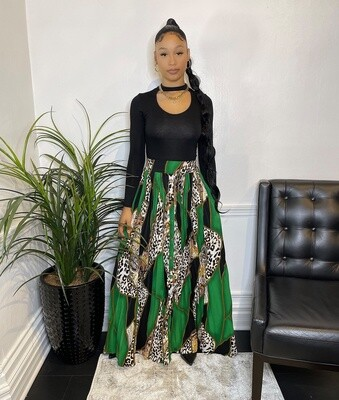 Lady Donatella Animal Print Pleated Skirt-Green