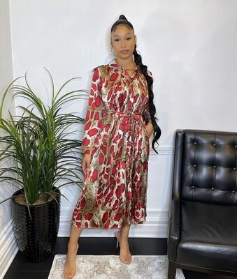 Cleopatra Pleated Dress W/ Belt-Red