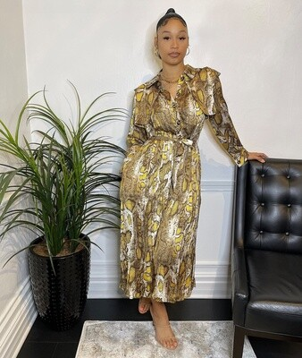 Cleopatra Pleated Dress W/ Belt-Yellow